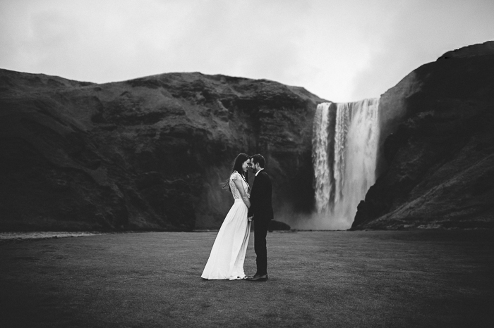bride and groom skogafoss waterfall iceland