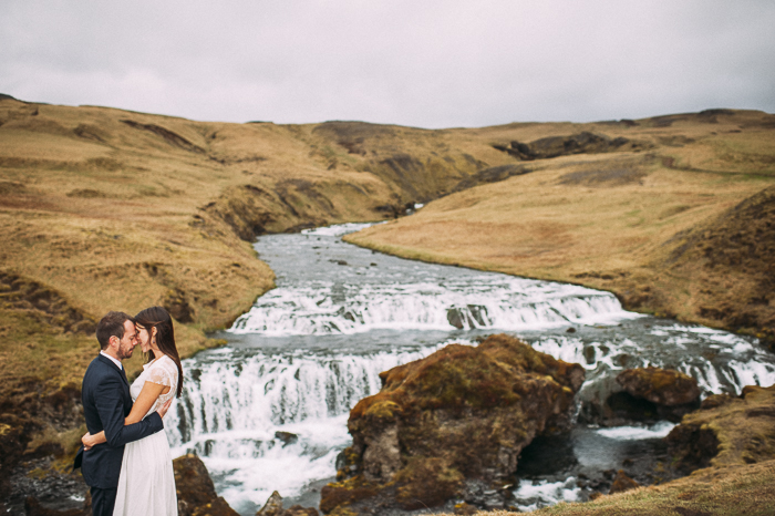 bride groom skogafoss waterfall