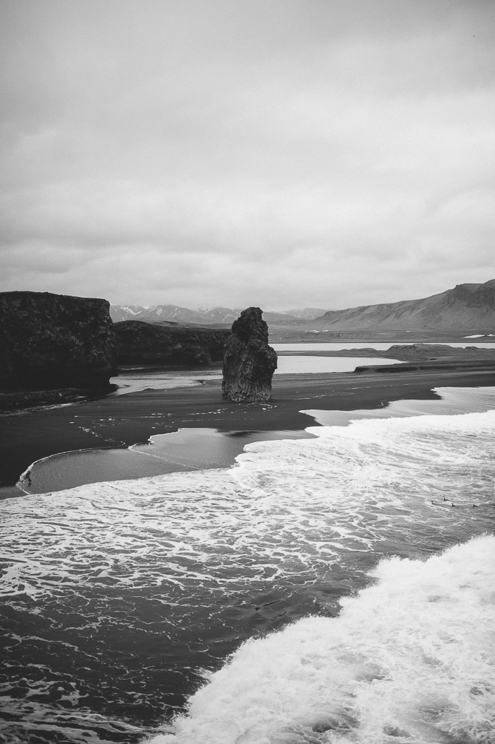 rock vik black white iceland