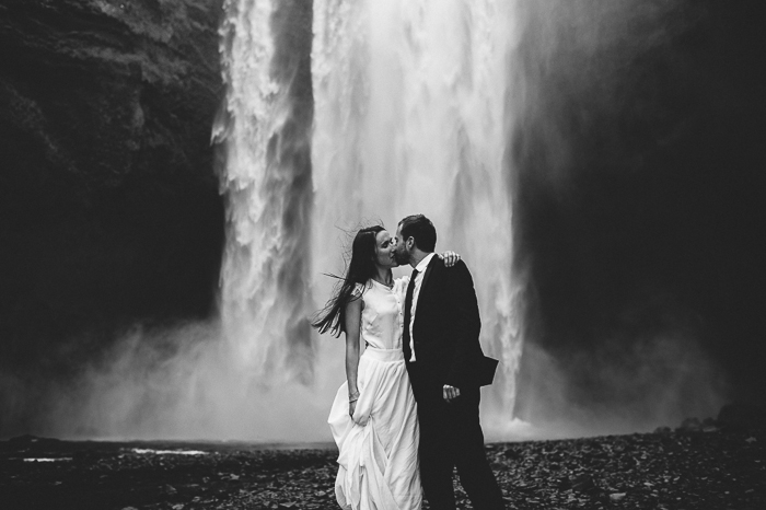 kiss skogafoss waterfall iceland