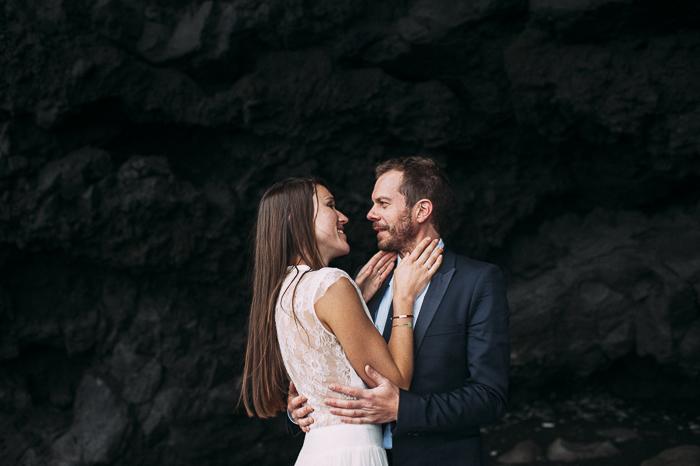iceland cave hug bride groom